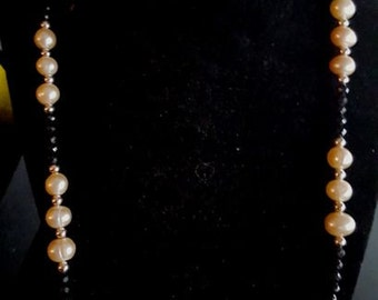 Peach Pearls & Black Spinel