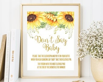 Dont Say Baby Game Baby Shower Game Gold Baby Shower Decor Clothes Pin Game Sunflowers Baby Shower Sign Floral Baby Shower Party Game Sign