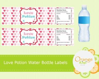 Love Potion Water Bottle Labels Valentine's Day Party Favors, Valentine Water Bottle Wraps, Pink and Red Heart Water Bottle Labels