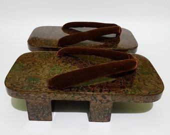 Old Large Lacquered Wooden Geta Sandals, CecysAsianShop