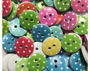 "15 or 30 Polka dot buttons, random mix, novelty buttons, round buttons, scrapbooking, sewing, crafts, 15mm, 9/16"" 15 mm 9/16 inch wood dot"