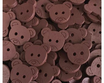 15 or 30 Brown bear buttons, teddy bear buttons, scrapbooking, sewing, crafts wood bear buttons 18 mm 3/4""