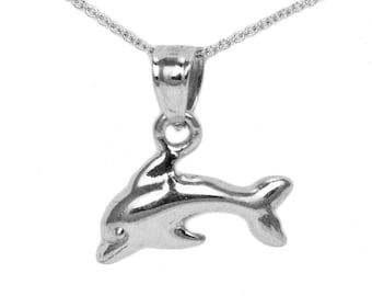 14k White Gold Dolphin Necklace
