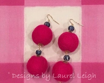 Pom Pom Earrings - HOT PINK, chinoiserie, blue and white, royal blue, Chinese, gold, beaded, dangle, pompom, bonbon