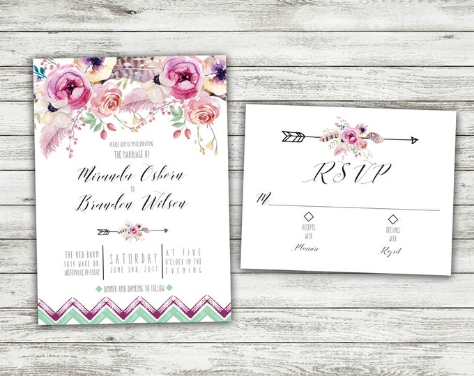 Boho Wedding Invitations, Bohemian Wedding Invitation, Boho Invite, Floral Wedding Invitation, Burgundy, Affordable Invite, Boho Chic