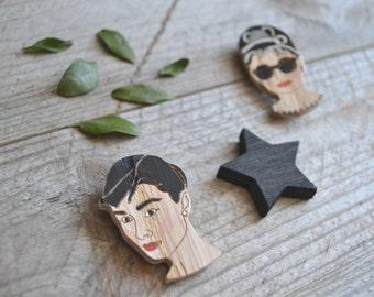 Audrey Hepburn brooch / Audrey Hepburn pin / Tiffany pin / Wood brooch / Wood pin / Breakfast at Tiffany's