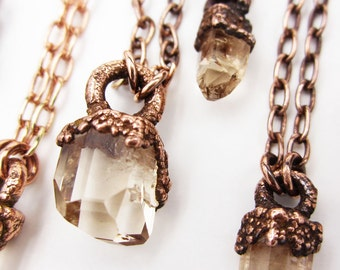 Sherry Topaz Necklace | Utah Topaz Crystal | Copper | Uncut | Natural Topaz | Raw Crystal | Champagne Topaz | Golden Topaz
