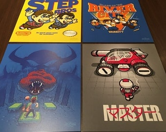 "Retrogaming Art Prints 8"" x 10"" - Super Mario Bros / Step Brothers / Startropics / River City Ransom / Blaster Master / gamer geek pop art"