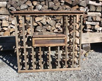 Rustic Wine Rack, Reclaimed Barn Wood wine rack, Wine storage, Unique Wine Rack, Handmade wooden Wine Rack, Wine Glass Rack With Drawer