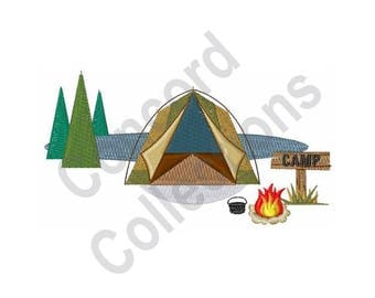 Camp Tent Machine Embroidery Design