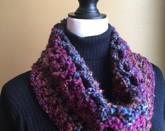 Purple Scarf, Cowl Neck Scarf, Red, Blue and Purple Neck Warmer, Blue Scarf, Purple Cowl Neck, Pink Scarf