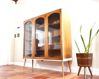 Mid Century Bar Curio Bookcase Cabinet Hutch