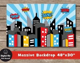 "Superhero City Backdrop - Play Room Decor, 48x30"", Printable Party Banner, Nursery Wall Art, City Skyline Print, Superheroes Birthday Party"