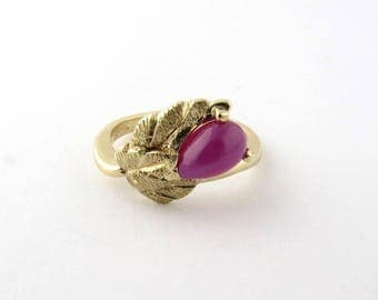 Vintage 14K Yellow Gold Star Ruby Floral Ring Size 5.25 #727