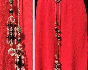 Vintage Victorian Crystal Jewel & Jet Black Belt - Lariat Rope Necklace - Filagree Fittings Metallic Thread Cord Turks Head Knots