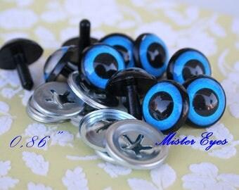 Safety eyes blue 22 mm  for   plush animal amigurumi bear cat dog plastic eyes