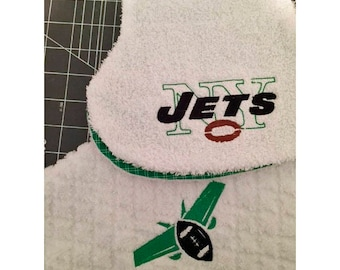 NY Jets Embroidered burp cloth  SET OF 2