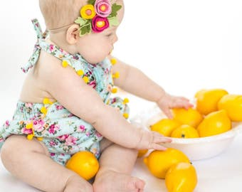 Raspberry Lemonade // Petite Poppy Headband // Felt flower crown headband // kikiandbee