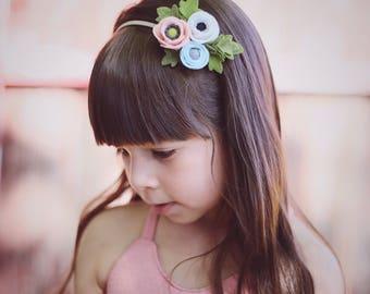 Solstice // Petite Poppy Headband // Felt flower crown headband // Blush, White and Pale Blue // kikiandbee