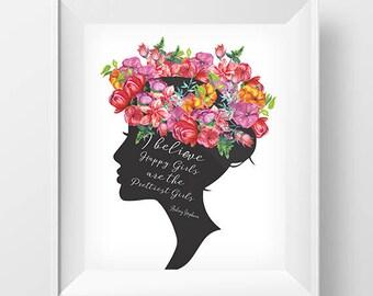 SALE 50% Audrey Hepburn Art Audrey Hepburn Poster, Flower print, Wall art printable bedroom art, wall art, bedroom decor, Audrey Hepburn art