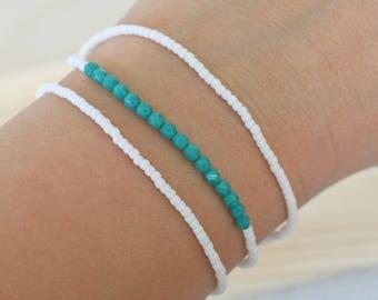 Small bead bracelets,3 bracelet set, layer bracelet, tiny bead bracelet, thin bead bracelet, delicate bead bracelet, white blue bracelet