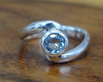 Aquamarine Silver ring , ring size O
