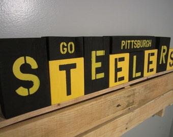 Pittsburgh Steelers,Shelf Sitters,Steelers Wood Sign,Steelers Sign,Steelers Gifts,Steelers Fan,Wooden Block Signs,Wooden Block Letters