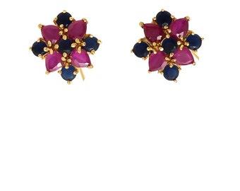 Elegant Indian Jaipuri Traditional Semi Prescious Gemstone Red Ruby, Blue Sapphire Jewelry 22K Gold Plated Tops Stud Studs Earrings