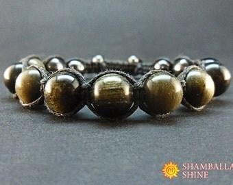 Gold obsidian stone Gem bracelet Men accessories Gemstone bracelet Black gemstone Shamballa bracelet Mens gift Woven bracelet Men healing