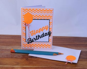 Neon birthday card for teenagers, Happy birthday card neon, Neon orange happy birthday card, Lumo birthday card, Funky teen birthday card