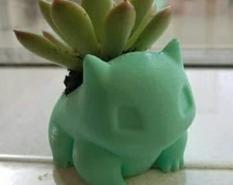 Pokemon style Plant pot designed to look like Bulbasaur