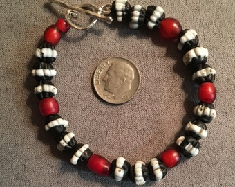 DOGTOOTH and 1820's Whitehearts Bracelet - African Trade Beads