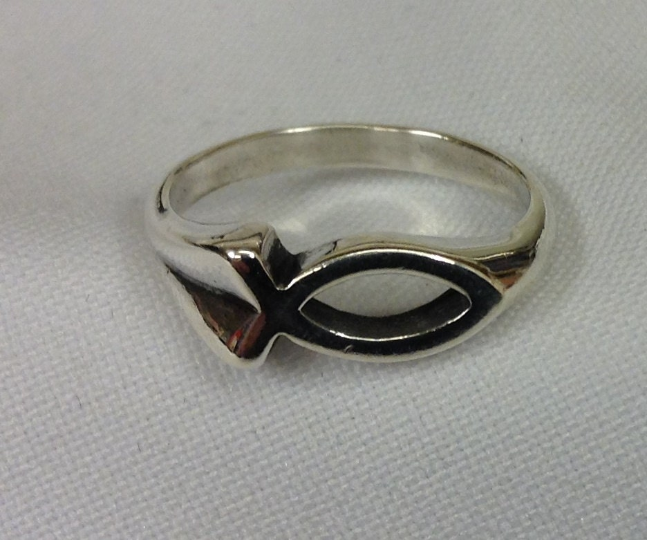 sterling silver christian ring religious ring fish ring