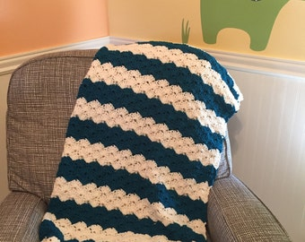 Teal and cream baby blanket