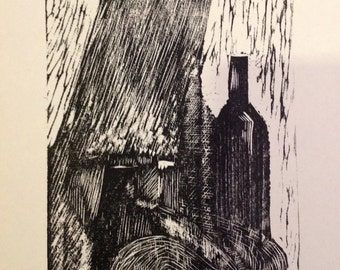original limited edition woodcut/linocut print of still life with wine bottle