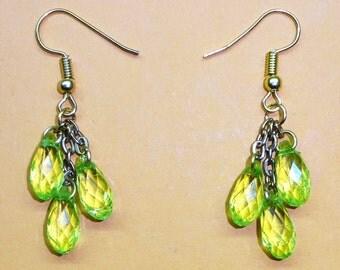 earrings GREEN CRYSTALS