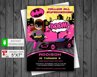 Printable invitation Batgirl in PDF with Editable Texts, Batgirl pink for girl party Invitation, edit and print yourself!
