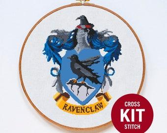 Ravenclaw Cross Stitch Kit, Harry Potter Cross Stitch Kit, Embroidery Kit, Harry Potter Embroidery Stitch Kit, Hogwarts Embroidery