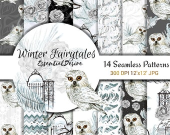 Watercolor White Owl Paper Pack, Floral White Pattern, Winter Bird Planner Snow Illustration, Watercolor Winter Woodland Digital Background