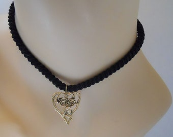 Pendant and 15 inch Black Cord - Gold Tone Metal - Antiqued Cut Out Large Heart Pendant - Black Cord For Neck with Gold Tone Metal Shortner