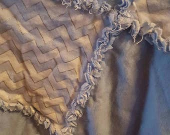 Flannel Rag Quilt - Blue and White