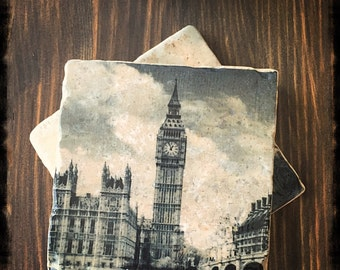 London Stone Coaster Set, Buckingham Palace, Tower Bridge, Big Ben, Telephone Booth, UK British England gifts