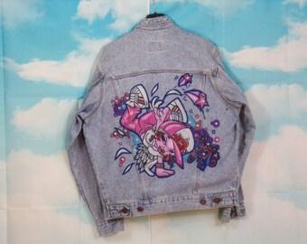 jean jacket Kustom 4U B-girl painted graffiti size S Brand C-17