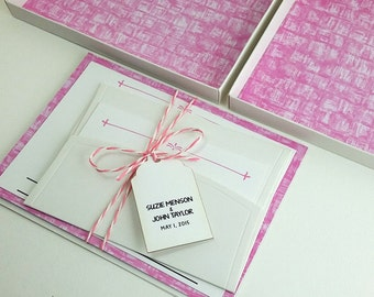 Pink Boxed Wedding Invitations, Color Wedding Invitations, Couture Invitations, Box Wedding Invitations, Green Color, 1 INVITATION