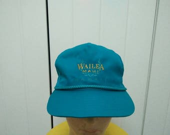 Rare Vintage WAILEA MAUI HAWAII Embroidered Cap Hat Free size fit all
