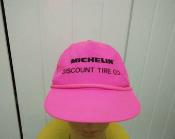 Rare Vintage MICHELIN Discount Tire Co Neon Pink Cap Hat Free size fit all