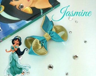 Jasmine inspired hair bow, boutique bow, princess ,Aladdin, turquoise, blue,gold, sparkly, disney, uk seller