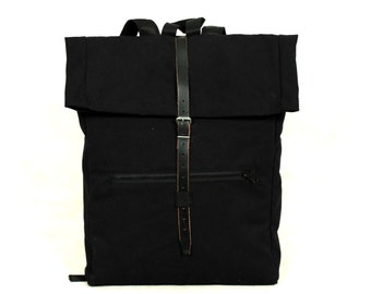 Leather New design Black backpack 100% cotton
