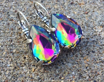 RARE - PEACOCK pear shaped handmade earrings - Czech imported glass in lever back earrings