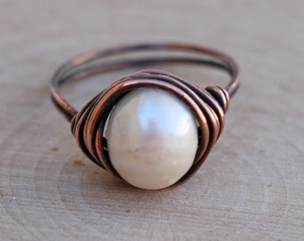 Pearl Ring, Natural Pearl Ring, Solitaire Pearl Ring, Pearl Jewelry, Real Pearl, Copper Wire Ring